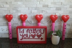 A Valentine's decoration made from recycled materials.