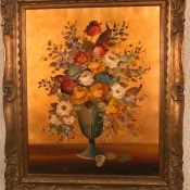 An old fashioned painting of flowers.