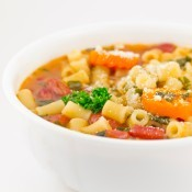 A soup with lots of pasta.