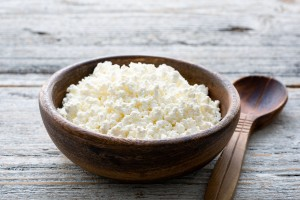 A bowl of cottage cheese.