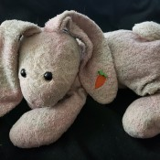 A stuffed rabbit with a carrot on its ear.