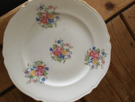 A floral pattern on a china plate.