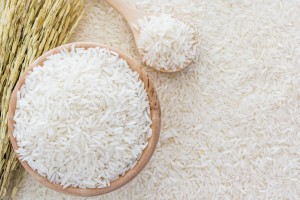 A bowl of rice grains.