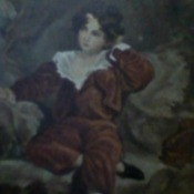 A painting of a young boy in old fashioned clothing.