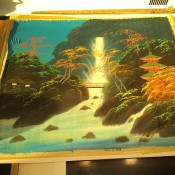 A Japanese painting done on silk.