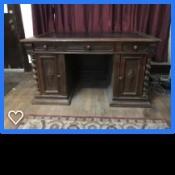 An old wooden desk.