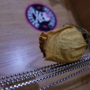 A dried rose bud.