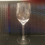 Glassware with a spiral twisted stem.