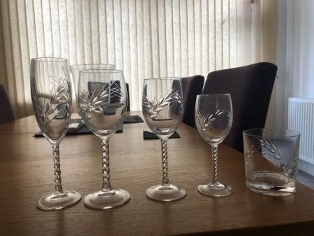 A set of glassware.