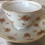 A china cup and saucer.