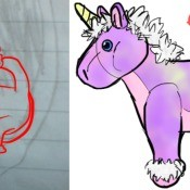 A drawing of a stuffed unicorn.
