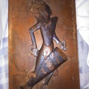 Value of Dennis Thomson Copper Art Piece? - copper art piece of tribal dancer with drum