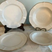 Different sized china plates.