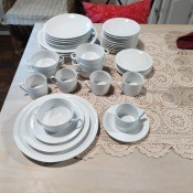 A set of white dishware.