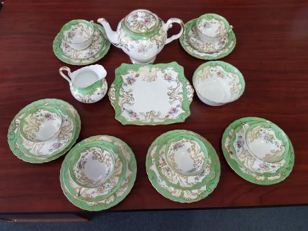 Green and white fine china tea set