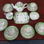 Green and white fine china tea set