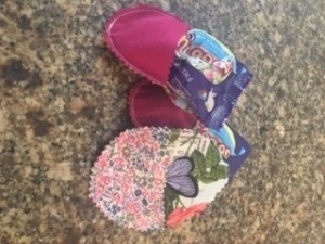 Completed fabric Easter egg candy pouches.