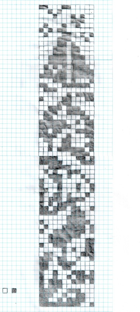 The pattern of the crocheted bookmark.