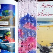 The completed and colored bookmark in a book.