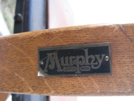 A Murphy label on a chair.