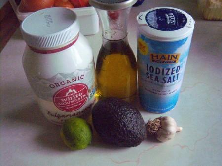 Ingredients for avocado dressing.