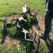 An old piece of farm equipment.