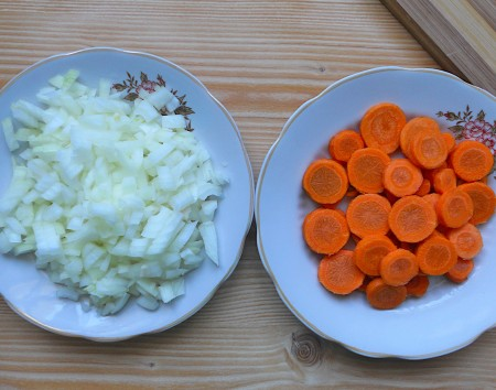 Diced onion and sliced carrots.