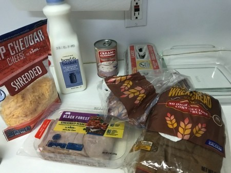 Ingredients for Ham, Egg and Cheese Bake