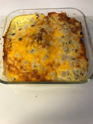 A completed ham, egg and cheese bake.