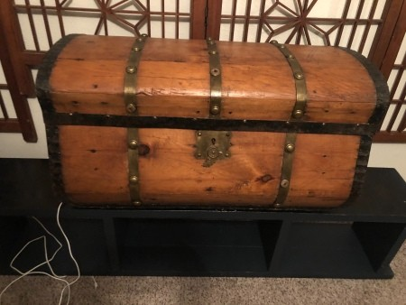 An old wooden trunk.