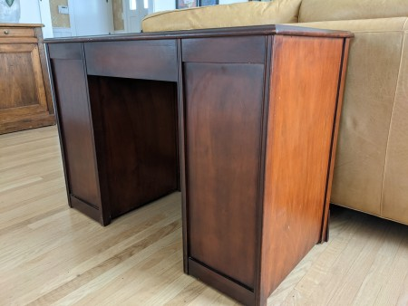 The back of a mahogany desk.