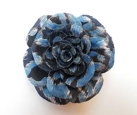 Fabric Rose Brooch - blue jacquard fabric rose brooch