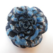 Fabric Rose Brooch - blue jacquard fabric rose brooch