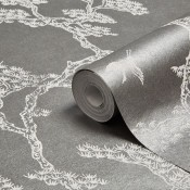 A metallic roll of wallpaper.