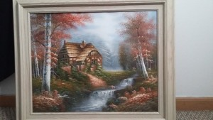 A painting of a house by a stream.