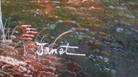 A signature on the painting.
