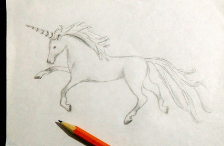 Copper Wire Unicorn from Old Transformer - sketch of unicorn