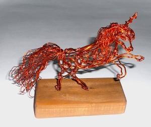 Copper Wire Unicorn from Old Transformer - copper wire unicorn sculpture