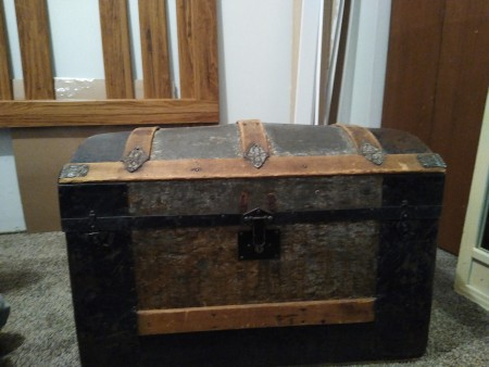 The front of steamer trunk.