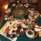 A charcuterie grazing table.