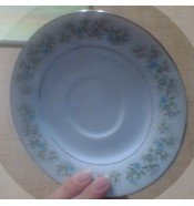 A china saucer with flowers around the rim.
