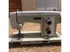 A vintage sewing machine.