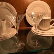 A set of martini glasses.