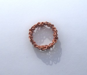 The completed copper ring.