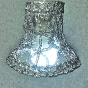 The crocheted foil lampshade.
