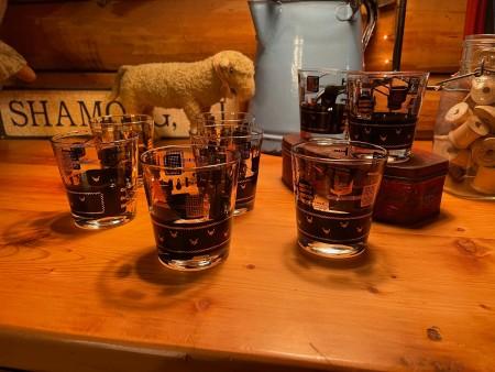 A set of vintage bar glasses.