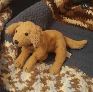 A small stuffed dog toy.