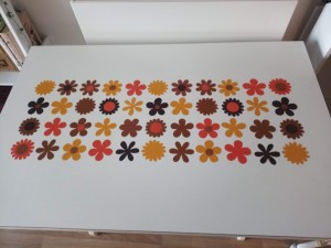 Colorful designs on the top of a white table.