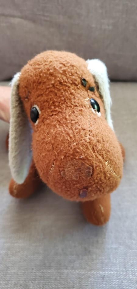 A small stuffed dog.