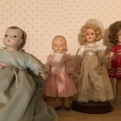 A collection of old dolls.